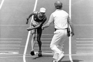 Gabriela Andersen alle Olimpiadi del 1984. (La Scuola di Ancel ha ricercato con ogni mezzo i titolari dei diritti senza riuscire a reperirli)