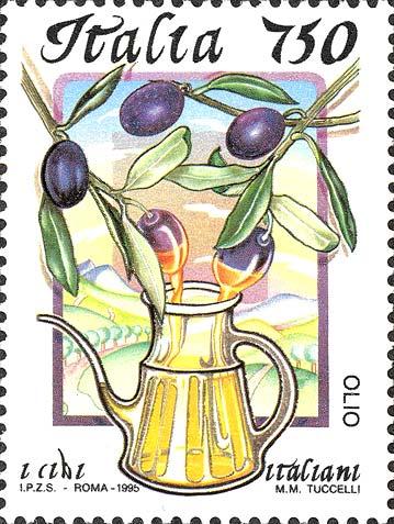 Francobollo dedicato all'olio extravergine di oliva